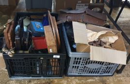 Two boxes of assorted items to include barometer, African figures, bellows, etc