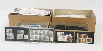 Box of GB used on about 50 stock cards including high value castles and three boxes of miscellaneous