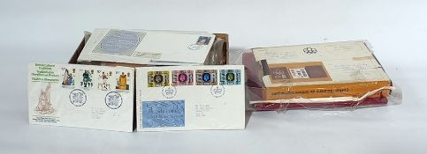 Box of world stamps and covers including presentation folder from 1976, montreal games and other (
