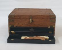 Brass stained wood gun cleaning box containing brush, Holland and holland oil, Holland and holland