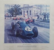 """Signed limited edition print """"Breakthrough for Britain, Tony Brooks driving a Connaught in 1955"""
