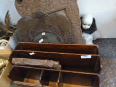 A pair of carved wood picture frames, possibly Indian, each 40cm high, carved with continuous