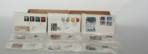 Box of duplicate decimal and silk First Day Coversand commemoratives, about 80 and a box of