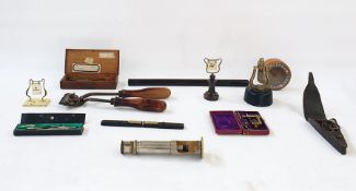 A quantity of tools and other items, to include a set of scales, a magnifying glass, compasses and