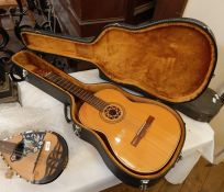 Hagstrom Isabella six-string classical guitar made in Sweden, in hard case and folding footstool