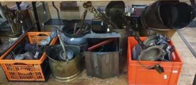Quantity of metalwareto include brass fireside companion tools, Art Deco coal bucket, brass coal
