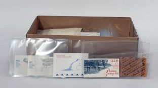 Box of stamp bookletsof pounds, shillings, pence and many decimal with high face value