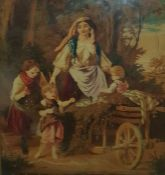Victorian tapestry picture of girl with parrot and dog in garden, another of Holy Mother and Child