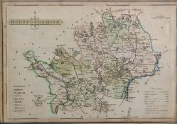 Nine various prints and engravings of English counties, hand coloured, to include Herefordshire,