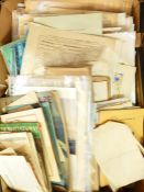 Box of assorted ephemera, includes shares, papers and booklets, engravings, etc