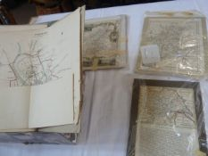 Assorted unframed mounted prints of county maps ( 1 box)