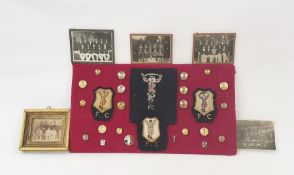 Quantity Harlequins FC brass buttons, badges and embroidered cloth badges and five vintage