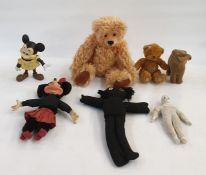 'Walt Disney' rubber Mickey Mouse, a vintage Applause Minnie Mouse, two teddy Bears, soft toy