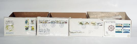 Three boxes of Guernsey and other British First Day Covers, approximately 200 (3 boxes)