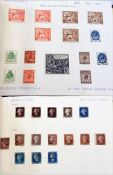 Maroon album of GB stamps with some classic examples, incl. four 1d black, some 2d blue, 1d red