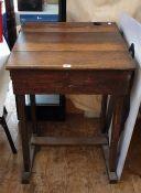 Vintage oak school desk with ink holder and pencil scoop, 84 cms at highest point