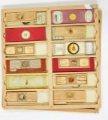 WF Stanley mahoganybox of microscope slide traysand anothercope Archibald Young, two other boxes,