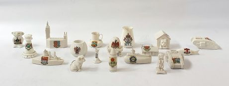 A quantity of goss and goss type crested china, to include a model of a tank, a boat, the houses