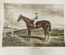 """Colour print of race horse """"Leamington"""" engraving after J Harris and print of """"Grand Stand, Goodwood"""