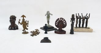 Bronze sculpture figure group of four figures with arms raised on marble base, 1930's figure of