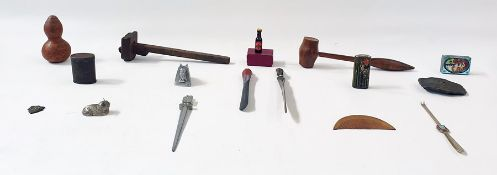Box of assorted items to include a gavel, a horn and stone rabbit sculpture, various letter