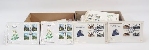 Box of approx 60 unaddressed decimal GB First Day Covers and a box of used decimal high values (2