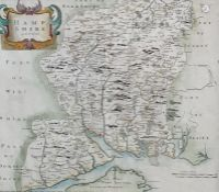 Robert Morden coloured engraving, county map of Hampshire, 34 x 41 together with John Speede