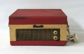 A Dansette record player, 1960's in hinged cream and red case 34.5 x 31.7cm