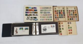 Rowlan postage stamp album circa 1900 with a few stamps, album of World First Day Covers, stock book