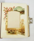 Victorian leather bound metal mounted photograph albums. The pages gilded and some with floral and