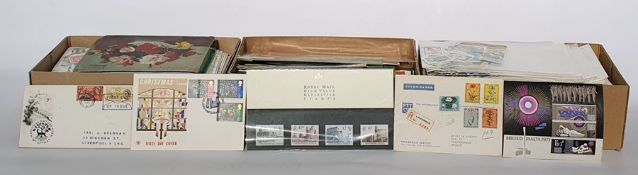 Interesting box of about 80 stamp booklets and presentation packsplus much more,two boxes of off