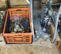 Assorted metalwares in two boxes and two fireside companion sets to include assorted candlesticks,
