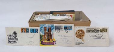 Box of approx 100 First Day Coversfrom 1940 to 1972, plus five pence First Day Covers