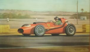 """Signed limited edition print by Graham Turner """"Champagne Victory Mike Hawthorn in his Ferrari DNO426"""