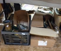 Five boxes of assorted miscellaneous items to include brasswares, decorative ethnic items, etc