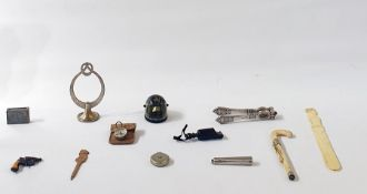 A box of assorted items, to include compasses, sewing box, button hooks, a nutcracker, an Art Deco
