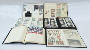 Six GB stock books and albums with used stamps from Victoria to modern mint Queen Elizabeth II