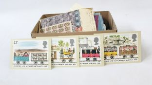 Box of miscellaneous material including old Russian sheet of 25 not-perforated, two sheets of