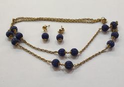 9K gold and lapis lazuli bead necklacewith Prince of Wales link chain and gadrooned lapis beads and