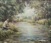 """Barrington Browne Oil on board """"Trout Fishing, River Colne, Gloucestershire (1951)"""", signed"""