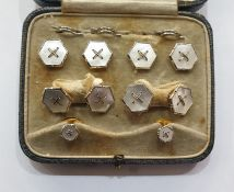 Set of 18ct and 9ct gold and mother of pearl cufflinks and dress studs, each hexagonal and with