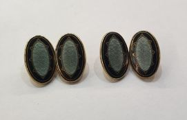 Pair 9ct gold and black and blue guilloche enamel oval and chain cufflinks,approx. 11.5g gross