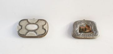 Silver-coloured metal and mother-of-pearl purseand a silver-coloured metal miniature landscape