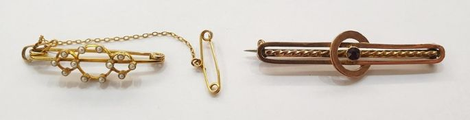 Gold-coloured metal and seedpearl bar brooch, triple-circle design set with seedpearls, in