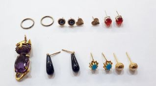 Quantity pairs gold and stone earrings and gold coloured metal amethyst and ruby cat pendant