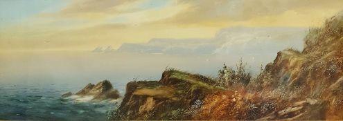 Unattributed (19th century) Watercolour drawing Coastal scene, 26cm x 78cm (framed and glazed)
