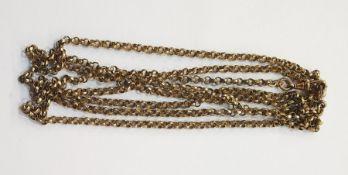 Antique gold-plate ornate belcher-link long chain