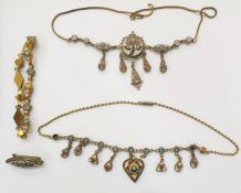 Gilt metal and mosaic necklace, rose and flowerhead decorated with pendant drops, another similar