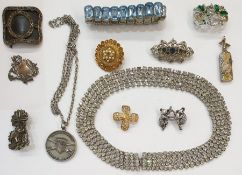 Quantity of costume jewelleryincluding faux-pearls, diamante, coloured glass stones, beads,