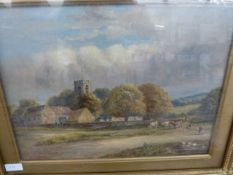 Enoch Crosland RA (1860-1945) watercolour drawing Church and farm within a wooded landscape,